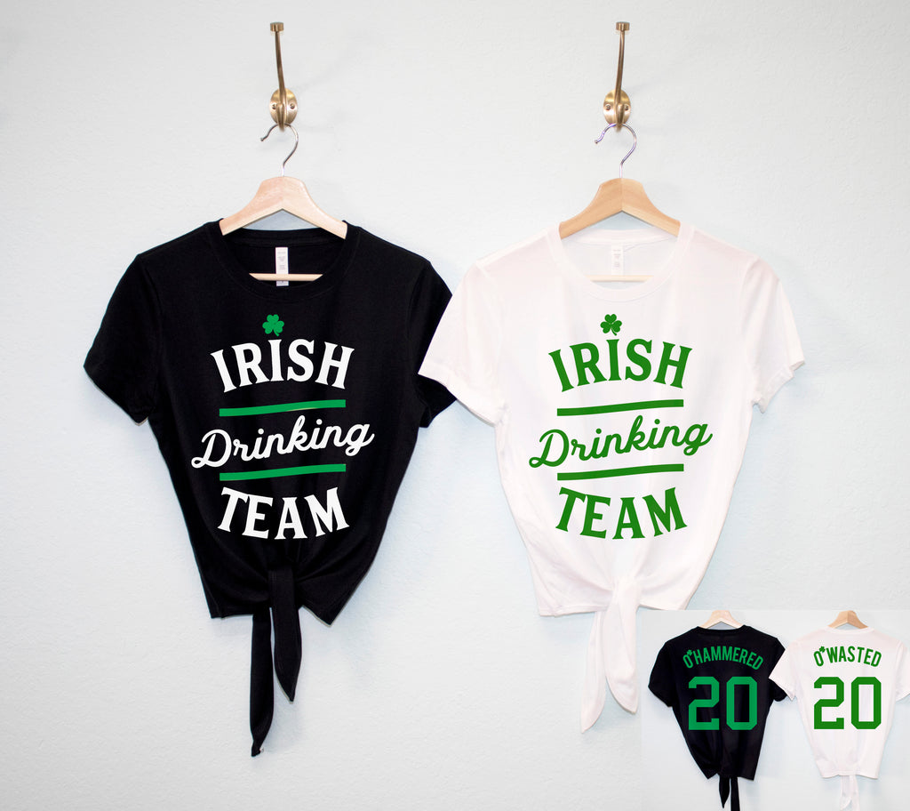 IRISH DRINKING TEAM St. Patrick's Day Crop Top Shirt - 6 Names to Pick