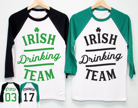 IRISH DRINKING TEAM St. Patrick's Day Shirt Unisex Baseball Tee - 6 Names to Pick