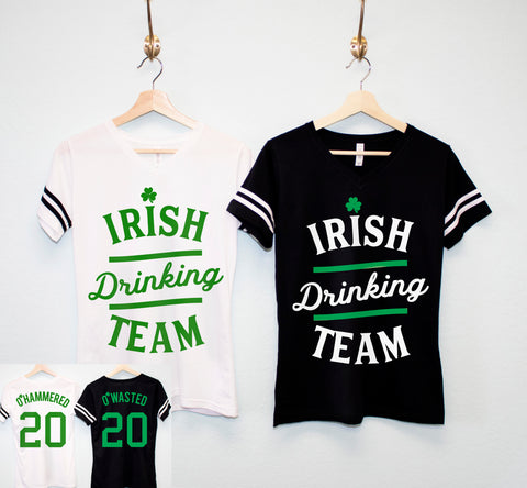 IRISH DRINKING TEAM St. Patrick's Day Shirt Women - 6 Names to Pick
