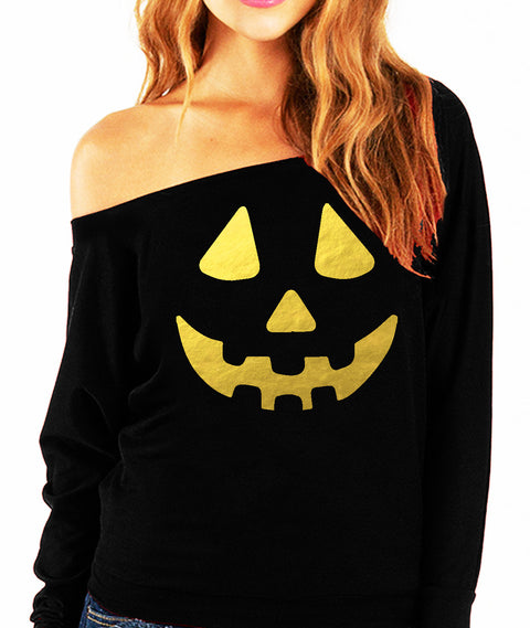 Jack O'Lantern Halloween Slouchy Sweatshirt with Gold Foil Print
