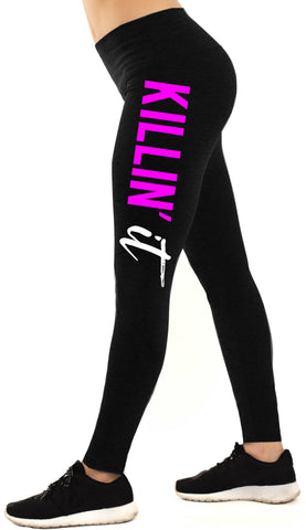 KILLIN' IT Workout Leggings, Black with Pink and White Print