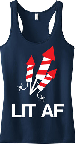 LIT AF 4th of July Tank Top - Navy Blue