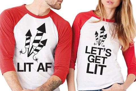 "Fireworks Red Baseball Tees Unisex Sizes - Pick ""LET'S GET LIT or ""LIT AF"""
