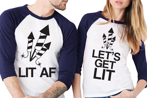"Fireworks Navy Blue Baseball Tees Unisex Sizes - Pick ""LET'S GET LIT or ""LIT AF"""