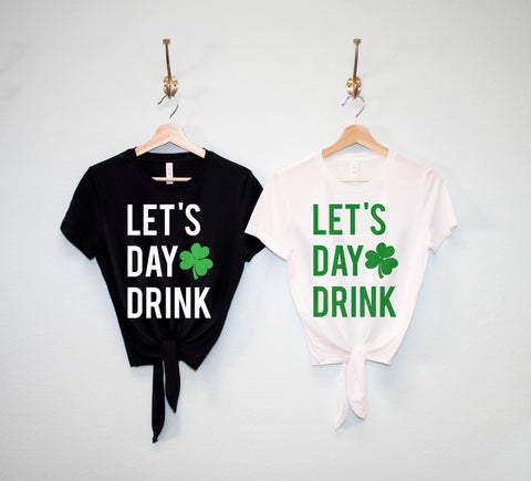 LET'S DAY DRINK Women's St Patrick's Day Crop Top Shirts