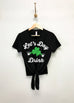 LET'S DAY DRINK Cursive St Patrick's Day Shirt Crop Tops