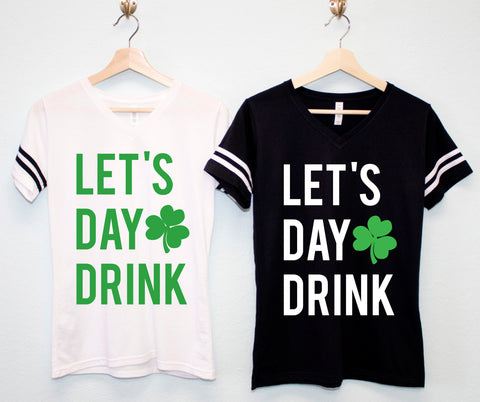 LET'S DAY DRINK Women's St. Patrick's Day T-Shirt - Block Style