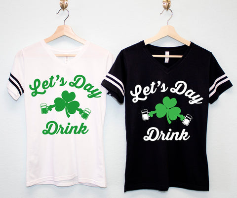 LET'S DAY DRINK Women's St. Patrick's Day Tee - Cursive Style