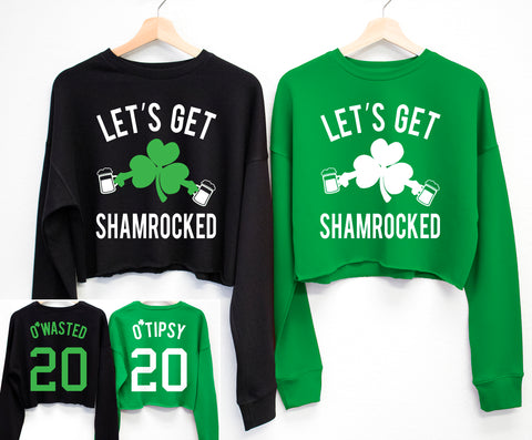 LET'S GET SHAMROCKED St. Patrick's Day Cropped Sweater - 6 Names to Pick