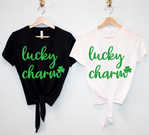 LUCKY CHARM St. Patrick's Day Crop Top Shirts