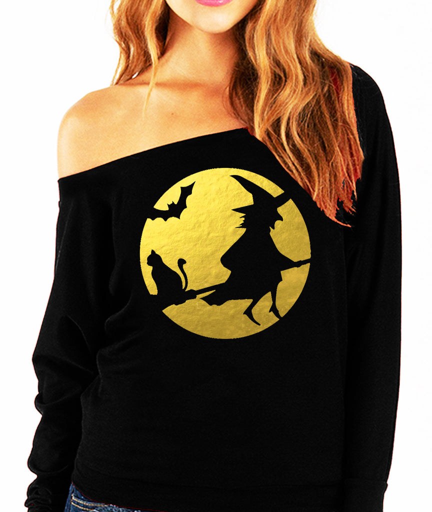 WITCHING HOUR Halloween Slouchy Sweatshirt with Gold Foil Print