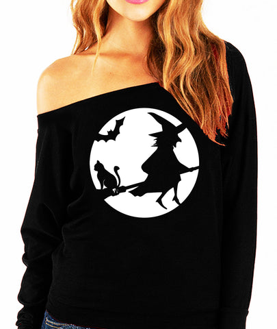 WITCHING HOUR Halloween Slouchy Sweatshirt White Print