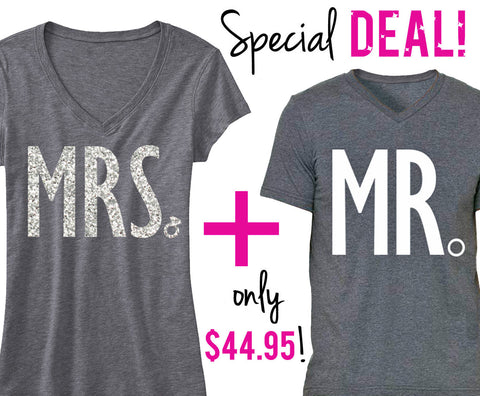 MRS Bride Shirt + MR Groom Shirt SPECIAL DEAL