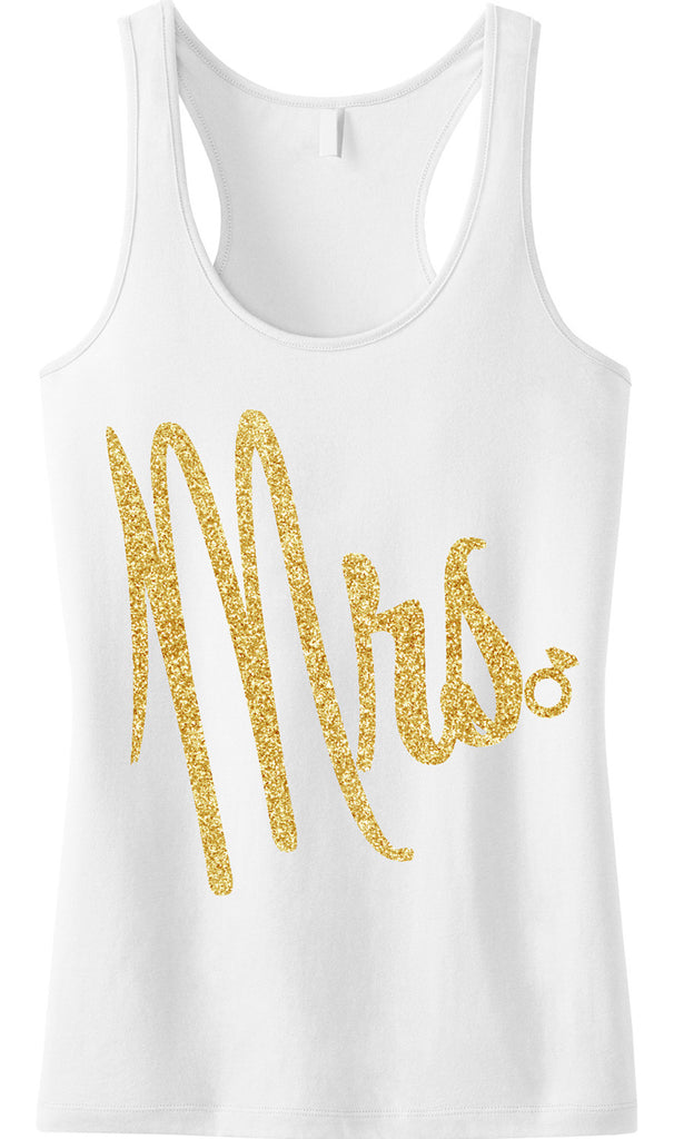 MRS Bride Tank Top with Cursive Gold Glitter Print