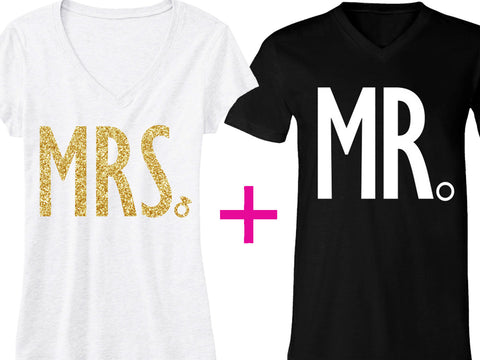 MRS Gold Bride Shirt + MR Groom Shirt SPECIAL DEAL