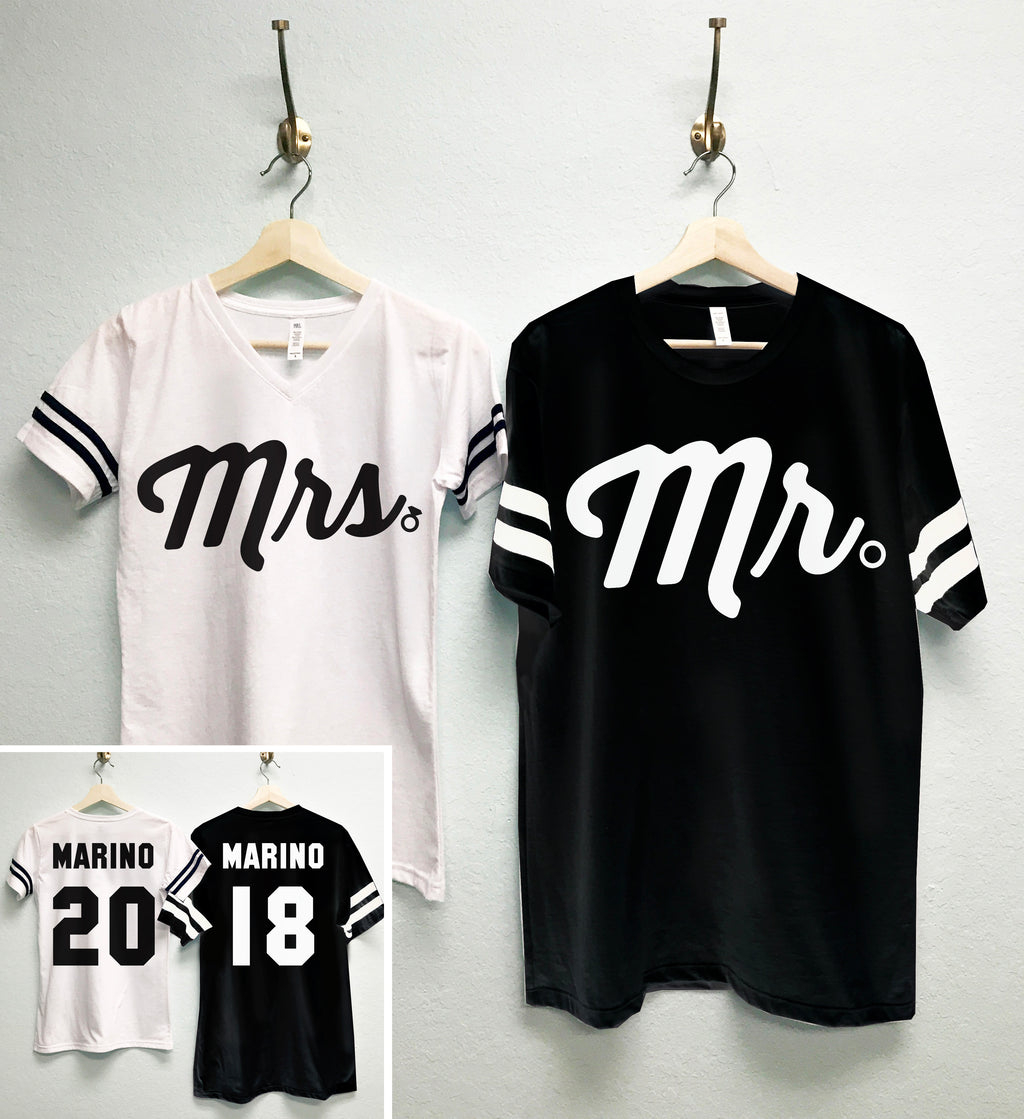 MRS Bride Shirt + MR Groom Tees CUSTOM Names & Numbers Shirts Set