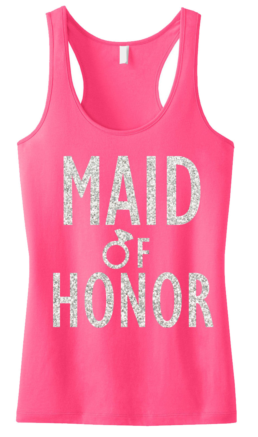 MAID of HONOR GLITTER Tank Top Pink
