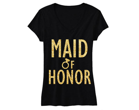 MAID of HONOR Gold GLITTER Bridal Shirt V-neck