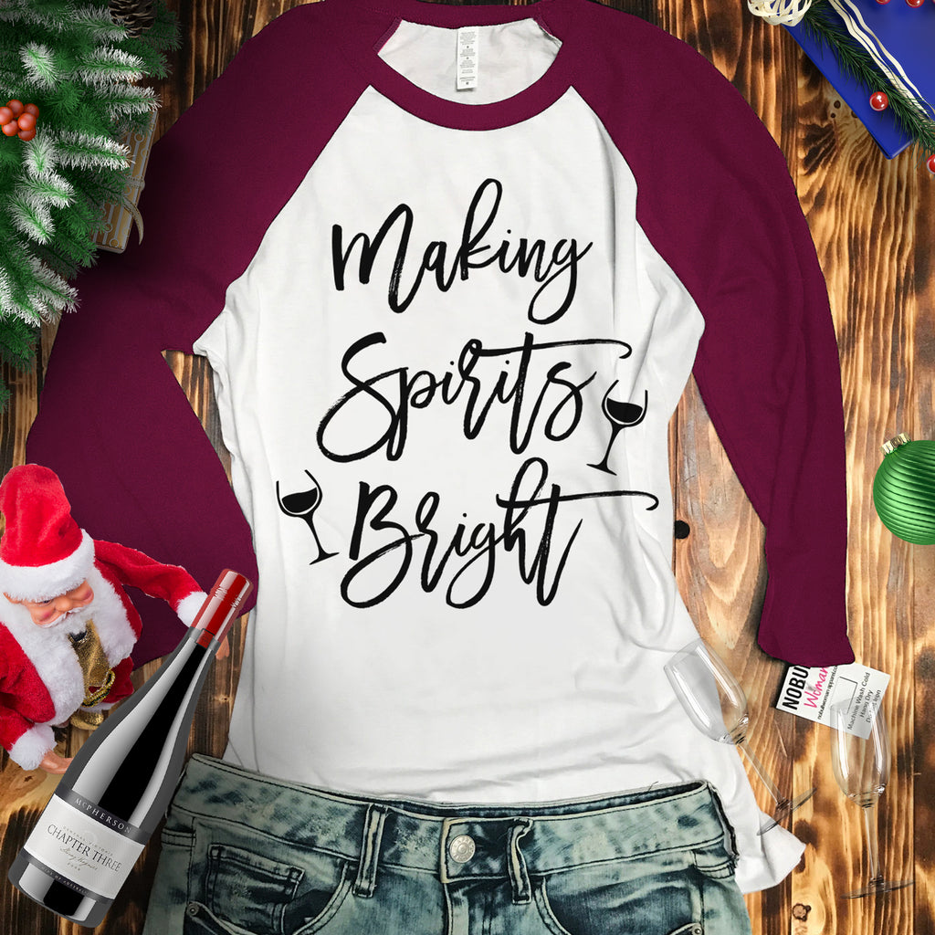 Making Spirits Bright Christmas Burgundy Baseball Tee