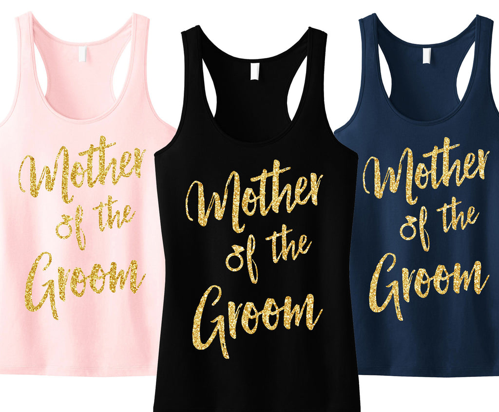 Mother of the Groom Script Tank Top with Gold Glitter - Pick Color