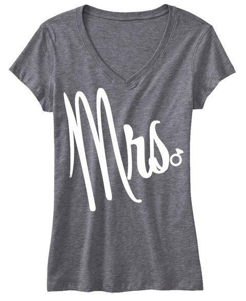 MRS Bride Shirt Cursive Print, Gray V-neck
