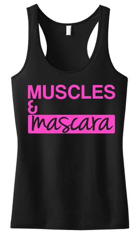 MUSCLES & MASCARA Workout Tank Black with Pink