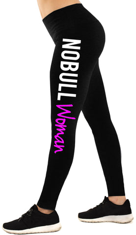 NoBull Woman Workout Leggings, Black with White & Pink Print