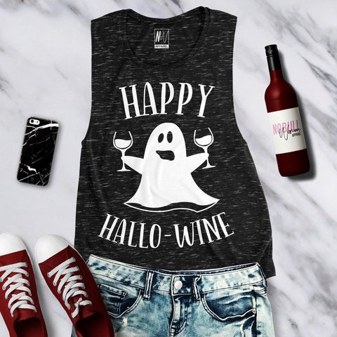 Happy HalloWine Ghost Marble Muscle Tank Top