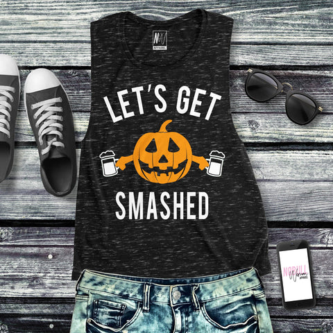 Let's Get Smashed Halloween Black Marble Muscle Tank Top