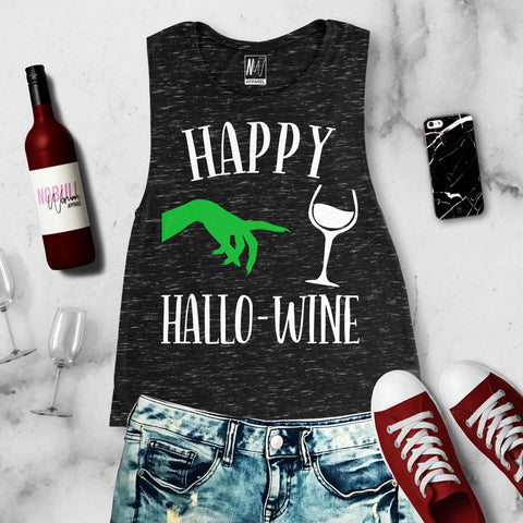 Happy HalloWine Witch Black Marble Muscle Tank Top