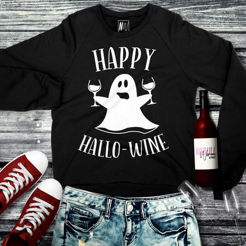 Happy HalloWine Ghost Crew Neck Sweatshirt