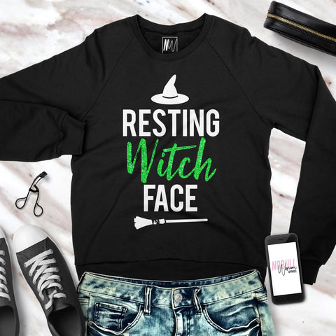 Resting Witch Face Halloween Sweatshirt Crew Neck