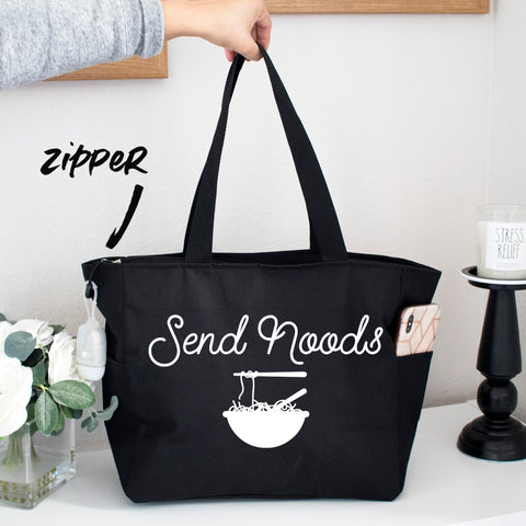 Send Noods Grocery Zipper Tote Bag
