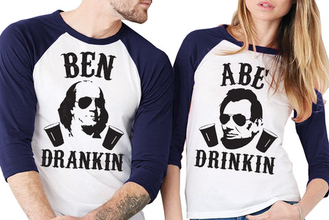 "4th of July Drinking Shirt Navy Blue Sleeves - ""BEN DRANKIN or ""ABE DRINKIN"""