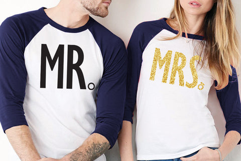MRS GOLD Bride Shirt + MR Groom Baseball Tees - PICK COLOR