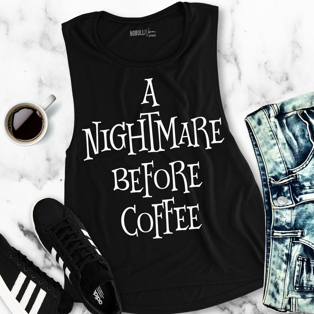 A NIGHTMARE BEFORE COFFEE Halloween Muscle Tank Top