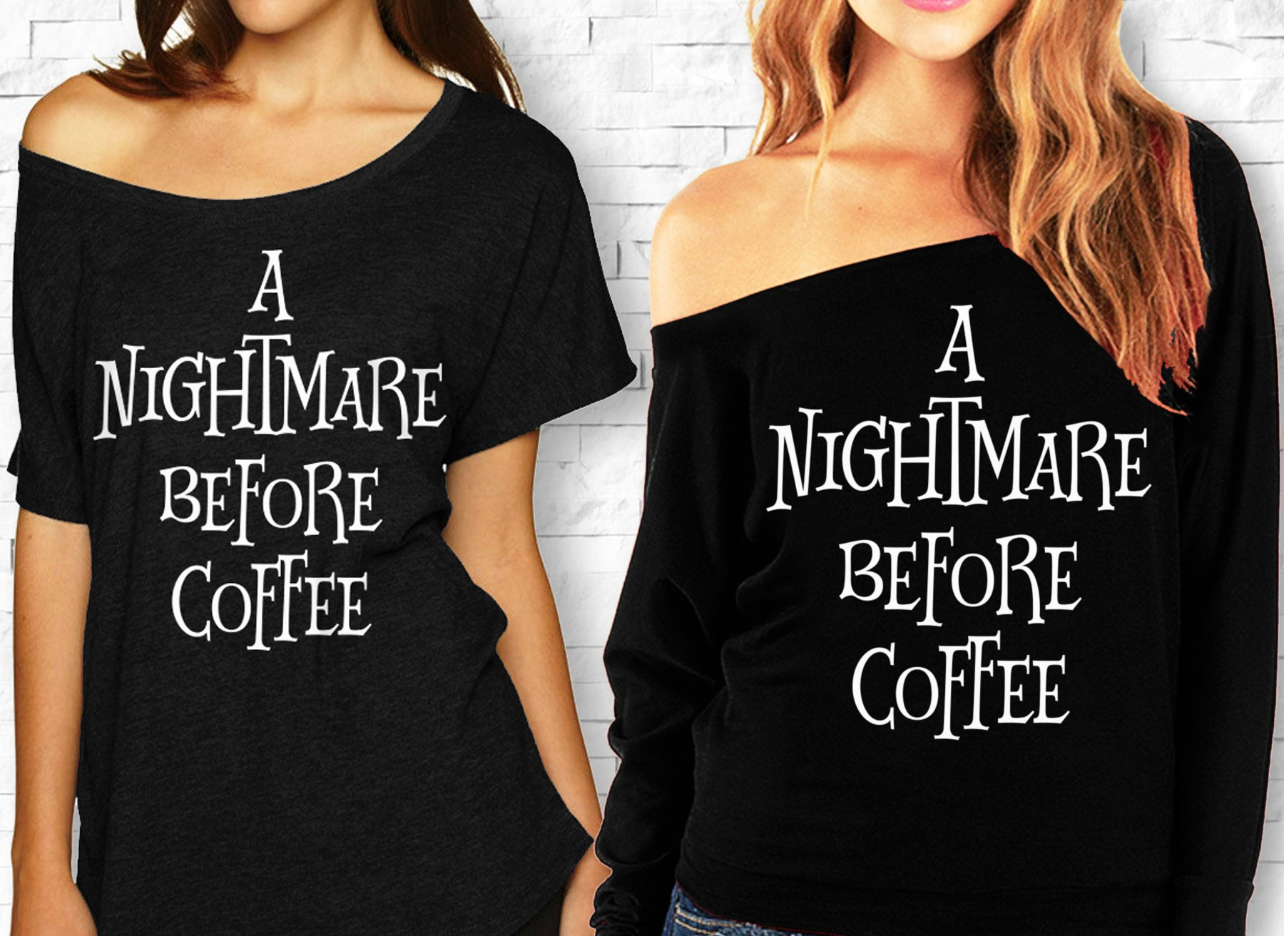 cab911167ee2 A NIGHTMARE BEFORE COFFEE Halloween Off-Shoulder Shirt - 2 Styles ...
