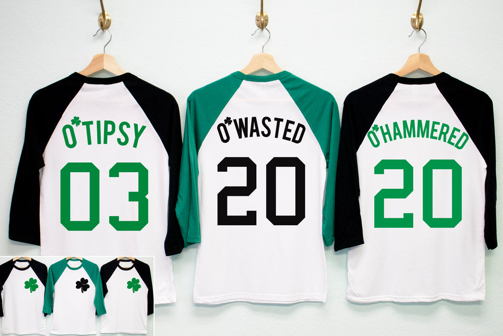 O'WASTED St. Patrick's Day Shirt Unisex Baseball Tee - 6 Names to Pick