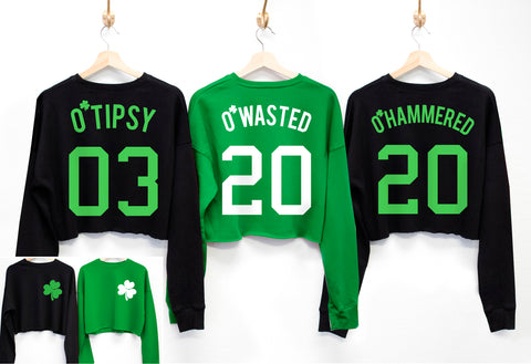 O'Wasted St. Patrick's Day Cropped Sweater - 6 Names to Pick