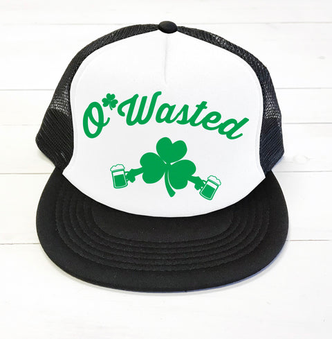 O'WASTED St. Patrick's Day Trucker Hat - Pick Name