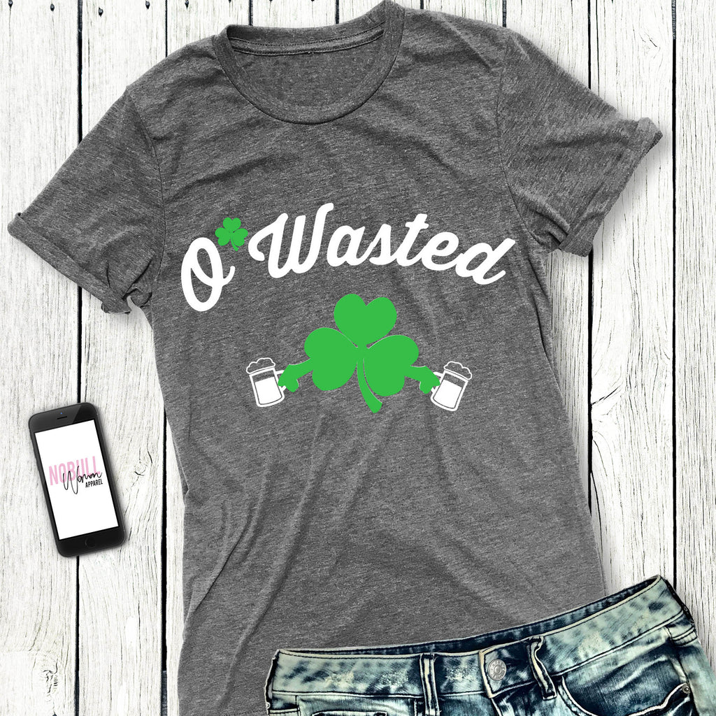 O'Wasted S. Patrick's Day Shirt Heather Gray