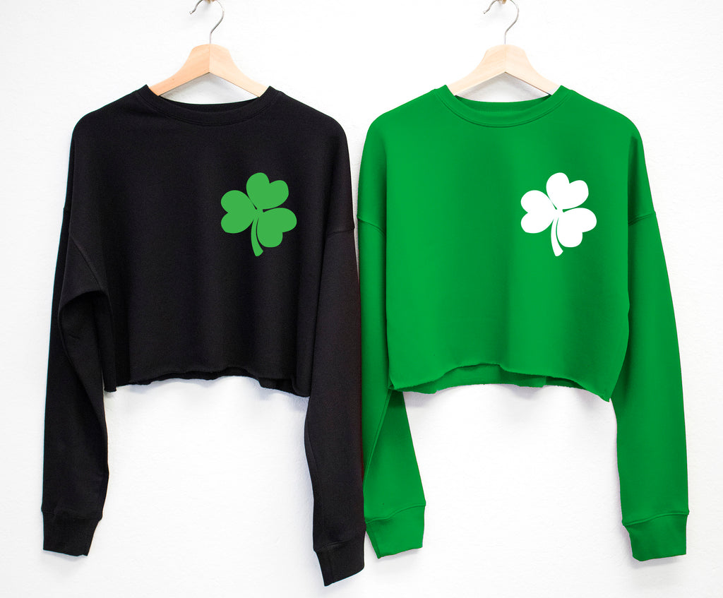 SHAMROCK POCKET PRINT St. Patrick's Day Cropped Sweater