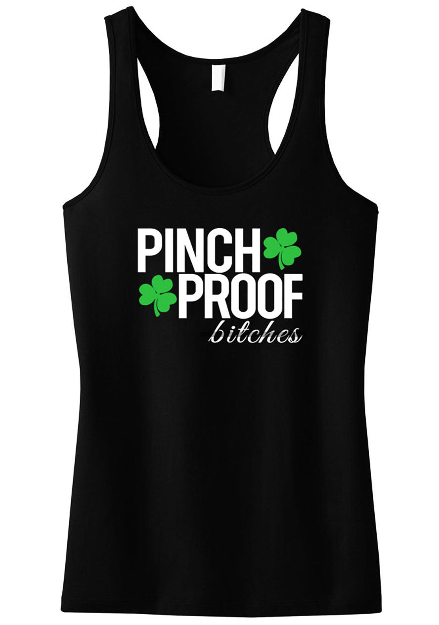 PINCH PROOF BITCHES St. Patrick's Day Tank Top - Black