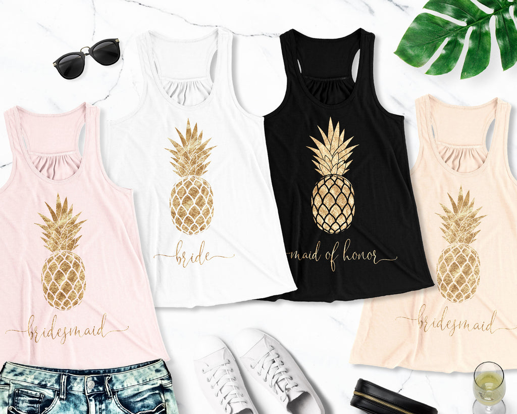 GOLD PINEAPPLE BRIDAL TANK TOP - PICK COLOR