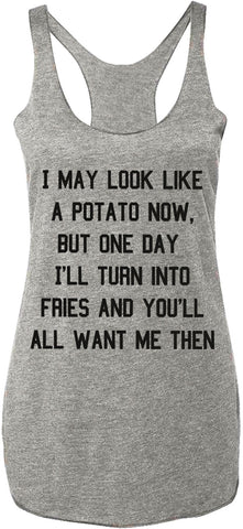 POTATO Into Fries Tank Top, Heather Gray with Black Print