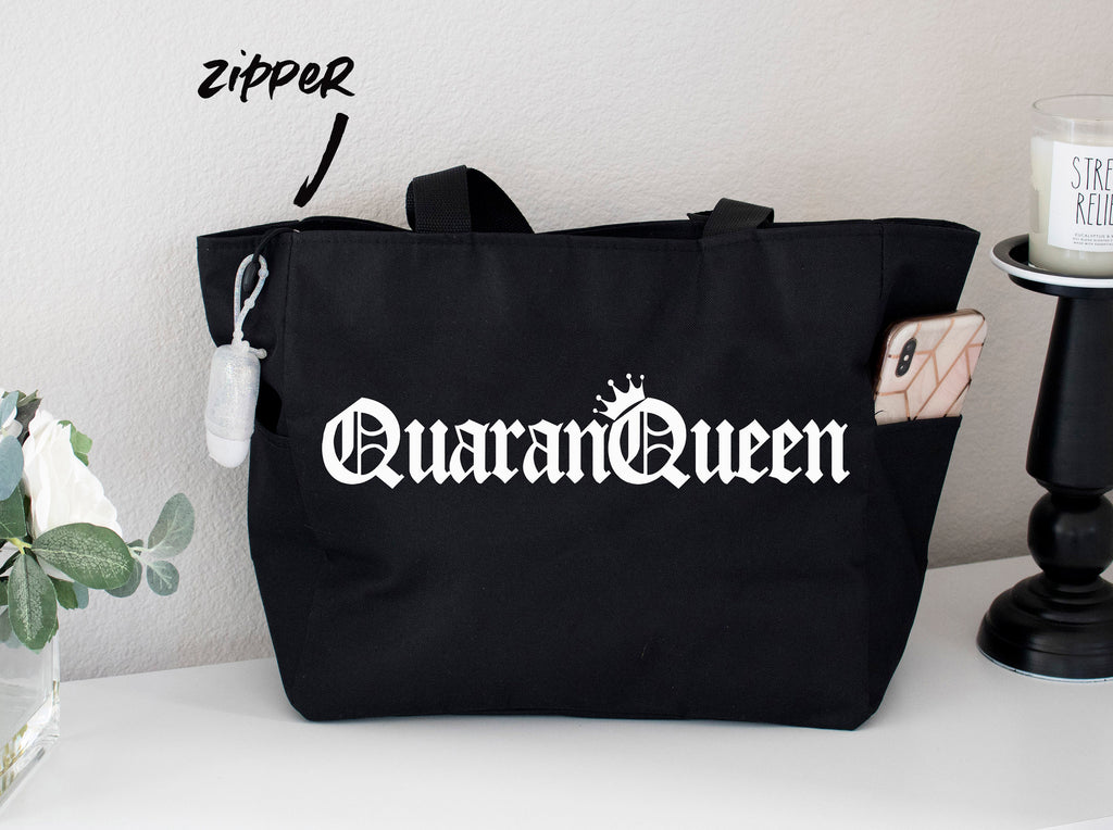 QuaranQueen Grocery Zipper Tote Bag