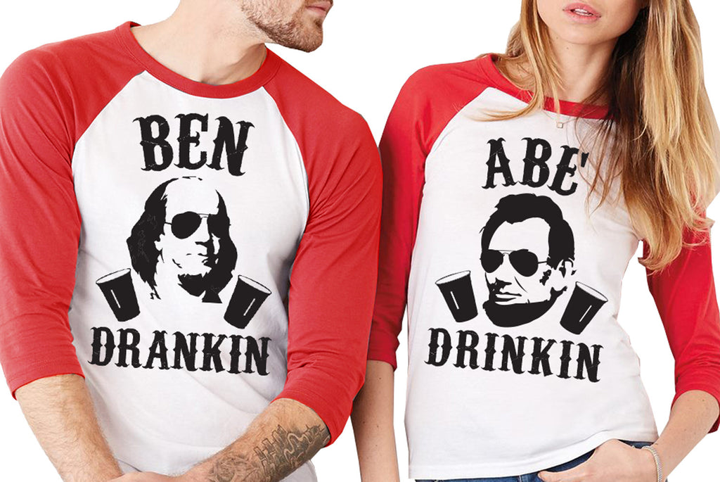 "4th of July Drinking Shirt Red Sleeves - ""BEN DRANKIN or ""ABE DRINKIN"""