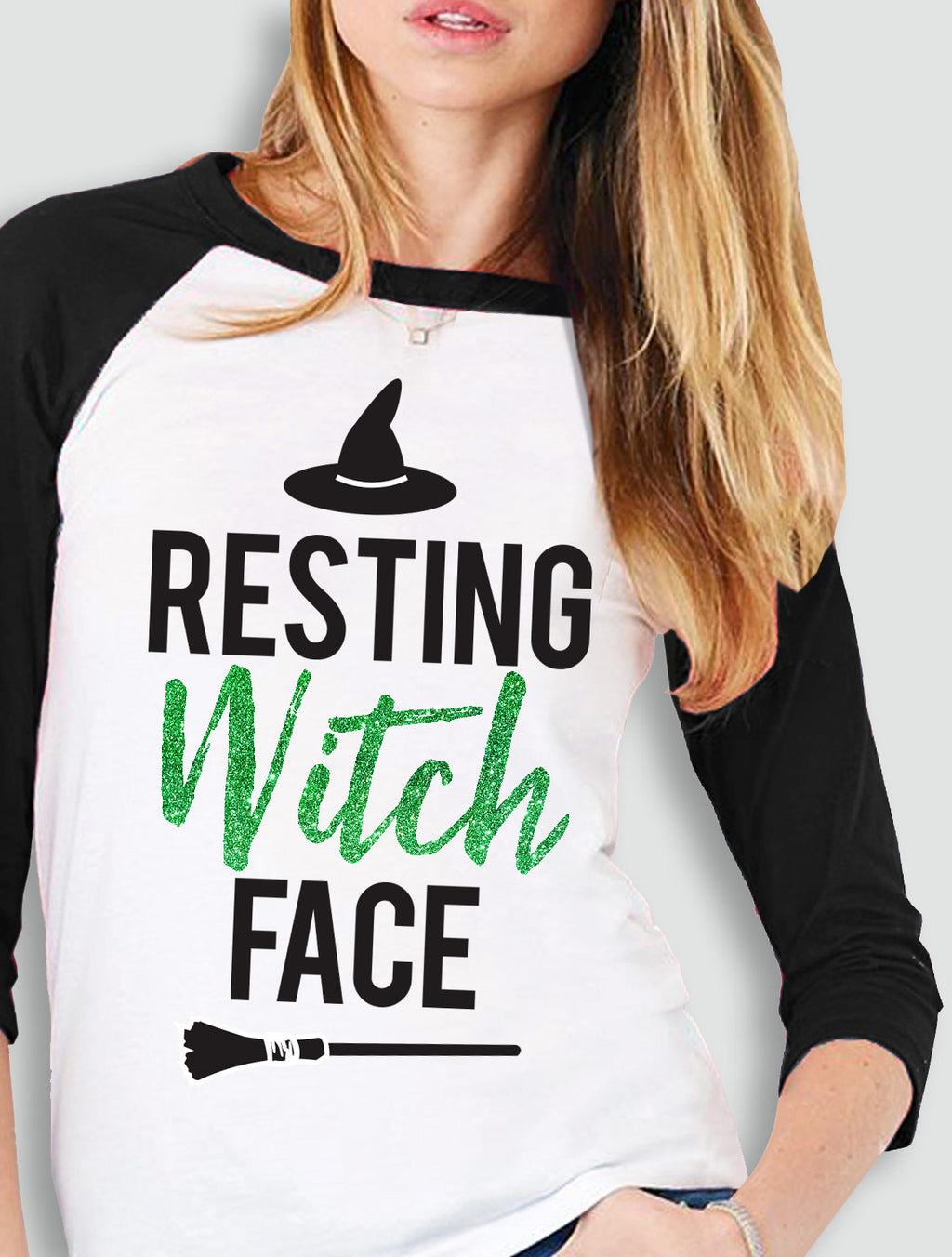 RESTING WITCH FACE Halloween Baseball Tee Green Glitter Print