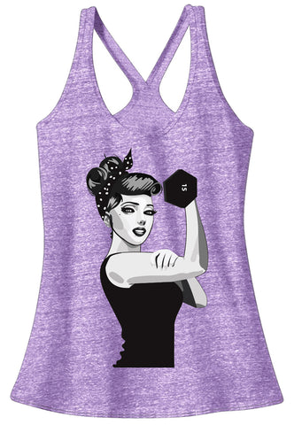 MODERN ROSIE the RIVETER Workout T-Back Tank Top - Pick Color