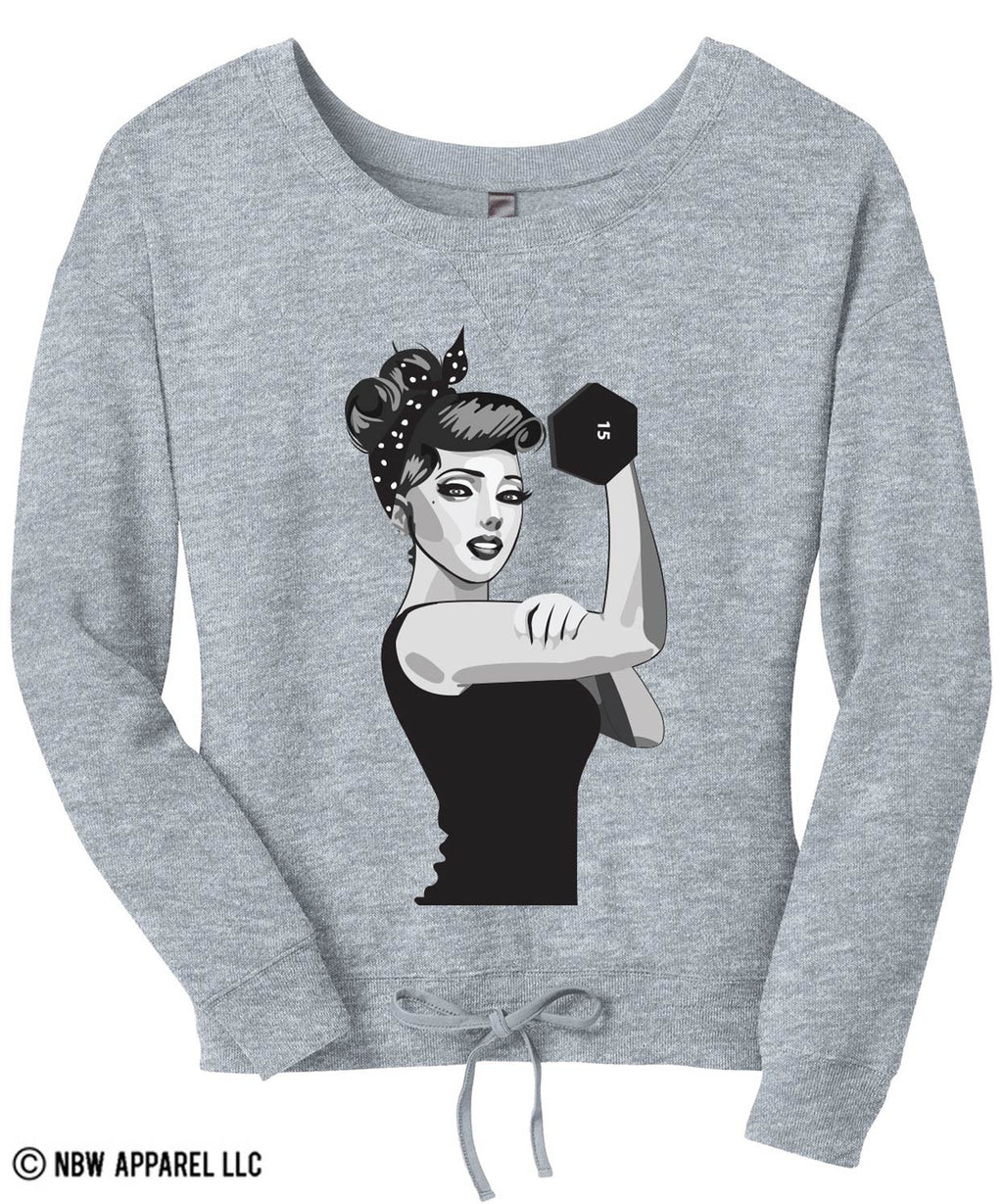 MODERN ROSIE the RIVETER Off-Shoulder Sweater
